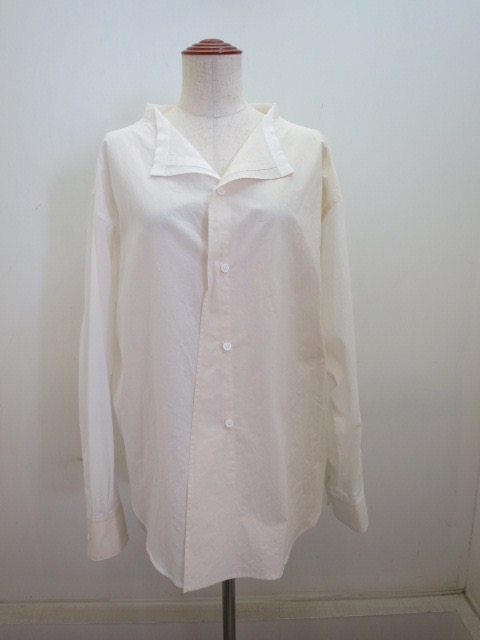 Y's YOHJI YAMAMOTO (ワイズ ヨウジヤマモト)  60ローンパウダースノーワッシャー裁ち出し衿ブラウス:ホワイト:ホワイト