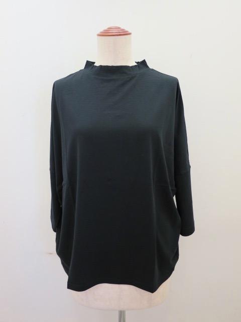KEI Hayama PLUS(ケイハヤマプリュス) 100/2スピン天竺ツバイオ台襟Tシャツ:ブラック