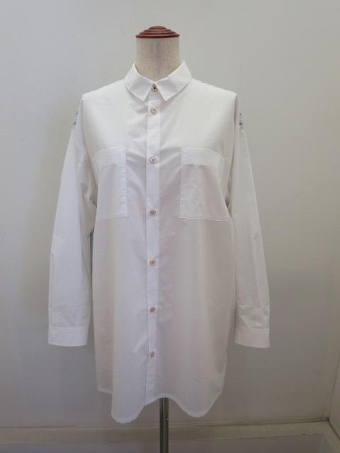KEI Hayama PLUS(ケイハヤマプリュス) ニュータイプライター×ストライプ長袖ビッグシャツ:ホワイト