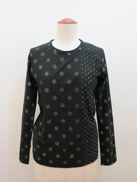 Y's YOHJI YAMAMOTO (ワイズ ヨウジヤマモト) 強撚水玉天竺長袖Tシャツ:ブラック/ホワイト