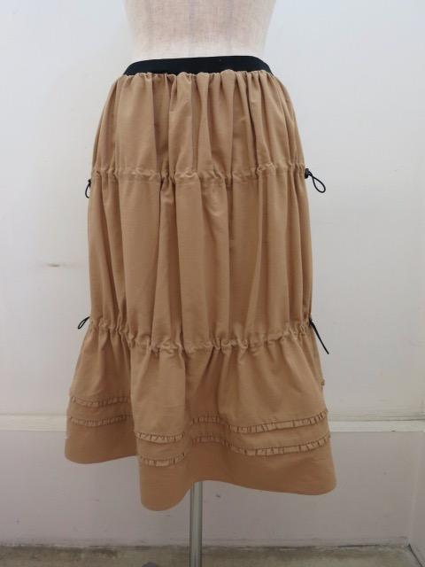 g.ジードット  コンポスタブルオックスホードウエストゴムギャザースカート :ベージュ