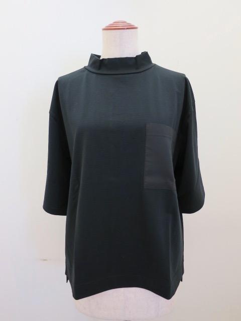 KEI Hayama PLUS(ケイハヤマプリュス) スーピマ天竺ハイネック半袖Tシャツ:ブラック