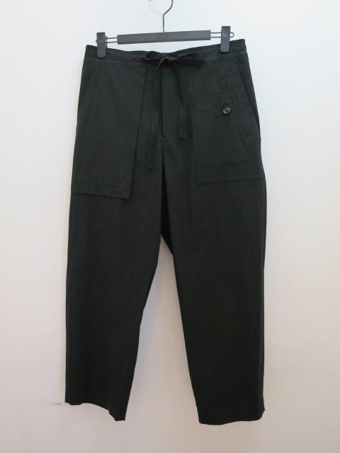 Y's YOHJI YAMAMOTO (ワイズ ヨウジヤマモト) 高密度強撚ポプリンアウトポケット紐パンツ:ブラック