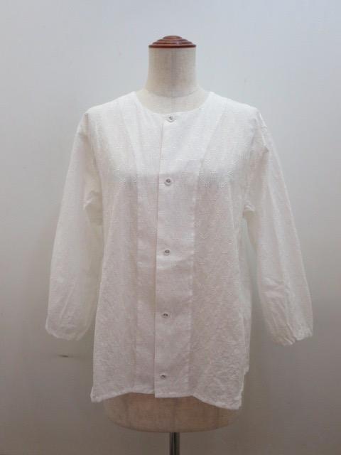 KEI Hayama PLUS(ケイハヤマプリュス) オーナメントエンブロイダリー7分袖オーバーブラウス:ホワイト