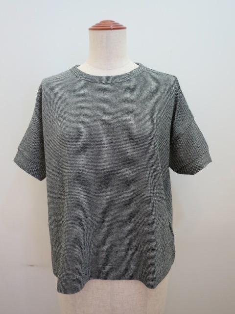 Y's YOHJI YAMAMOTO (ワイズ ヨウジヤマモト) 強撚千鳥ジャガード丸首半袖Tシャツ:ブラック