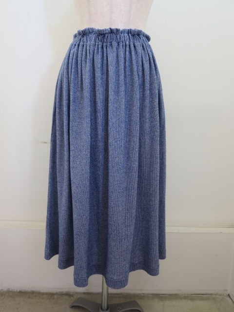 Y's YOHJI YAMAMOTO (ワイズ ヨウジヤマモト) 強撚千鳥ジャガードギャザースカート :ブルー