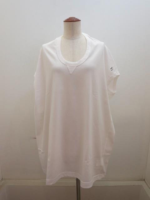 Y's YOHJI YAMAMOTO (ワイズ ヨウジヤマモト) 綿天竺Y'sロゴプリントフレンチスリーブTシャツ:ホワイト