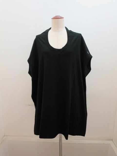 Y's YOHJI YAMAMOTO (ワイズ ヨウジヤマモト) 綿天竺Y'sロゴプリントフレンチスリーブTシャツ:ブラック