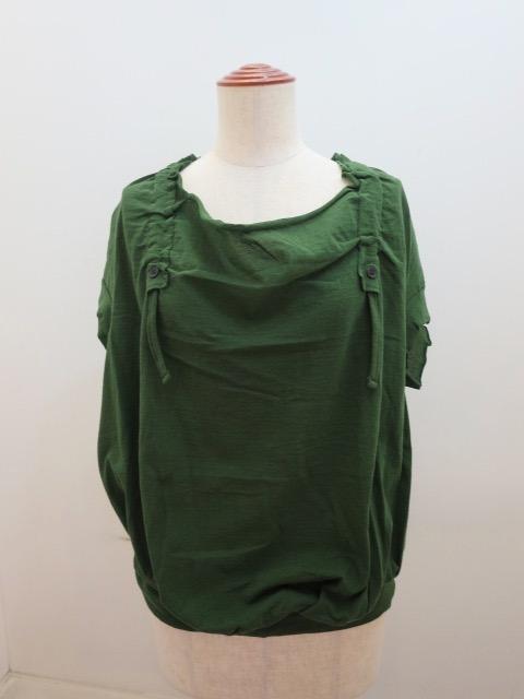 Y's YOHJI YAMAMOTO (ワイズ ヨウジヤマモト) ギャザー衿フレンチスリーブプルオーバー:グリーン