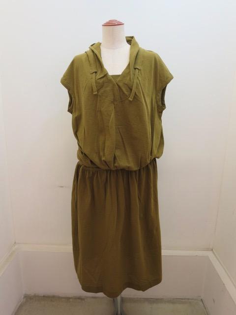 Y's YOHJI YAMAMOTO (ワイズ ヨウジヤマモト) ガゼット衿フレンチスリーブワンピース:カラシ