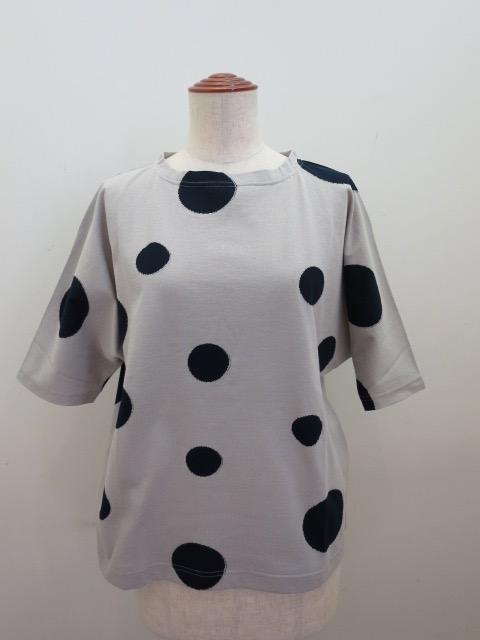 KEI Hayama PLUS(ケイハヤマプリュス) ランダムドットカットジャガードラグランスリーブ半袖Tシャツ:グレー