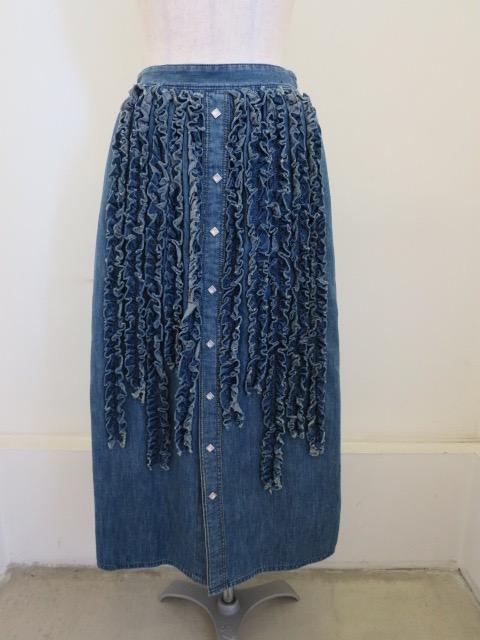 H.A.K (ハク) ライトオンスデニムウエストゴム セミタイトスカート:ブルー