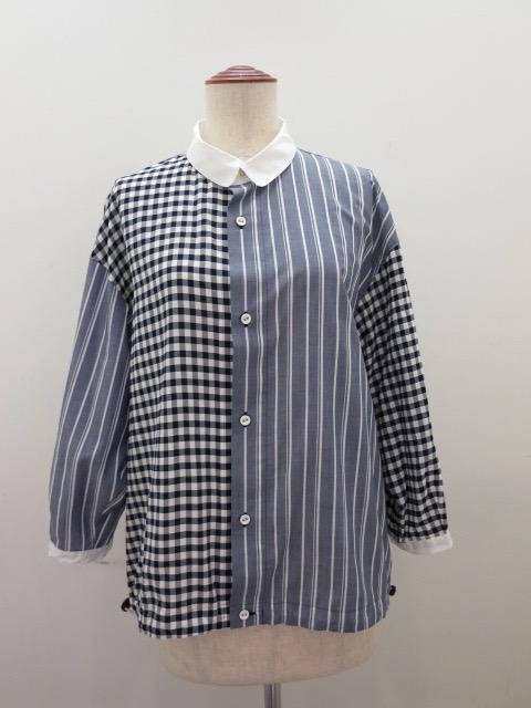 KEI Hayama PLUS(ケイハヤマプリュス) アセビスギンガム×シャツストライプ裾ゴム入り七分袖シャツ:ネイビー