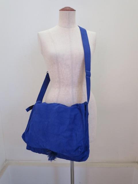 Y's YOHJI YAMAMOTO (ワイズ ヨウジヤマモト) 帆布製品染めフラップポケットショルダーバッグ:ブルー
