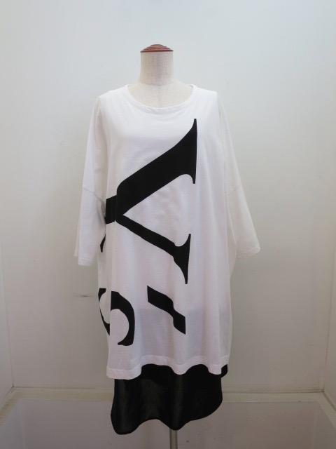 Y's YOHJI YAMAMOTO (ワイズ ヨウジヤマモト) コンビビッグY'sロゴチュニックTシャツ:ホワイト