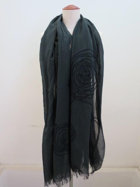 Y's YOHJI YAMAMOTO (ワイズ ヨウジヤマモト) コード刺繍ぐるぐるストール:グレー×ネイビー