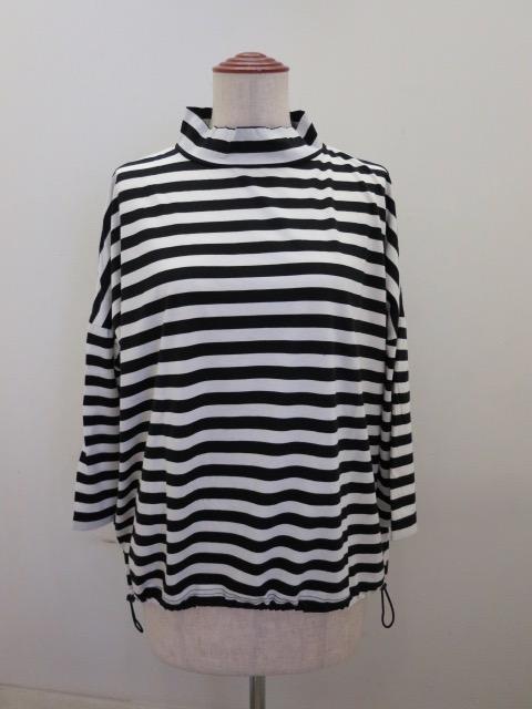 KEI Hayama PLUS(ケイハヤマプリュス) ギザリヨセル天竺ボーダー七分袖ハイネックTシャツ:ホワイト