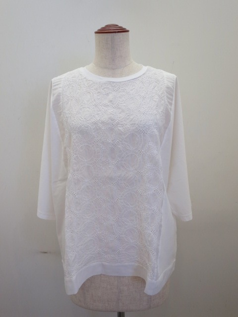 KEI Hayama PLUS(ケイハヤマプリュス) リンクルワッシャーレース×マハラニプレミアム天竺半袖Tシャツ:ホワイト