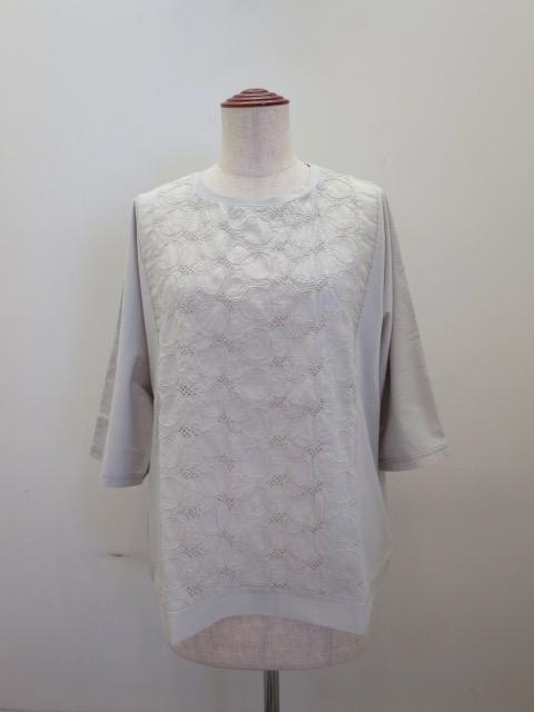 KEI Hayama PLUS(ケイハヤマプリュス) リンクルワッシャーレース×マハラニプレミアム天竺半袖Tシャツ:ライトグレー