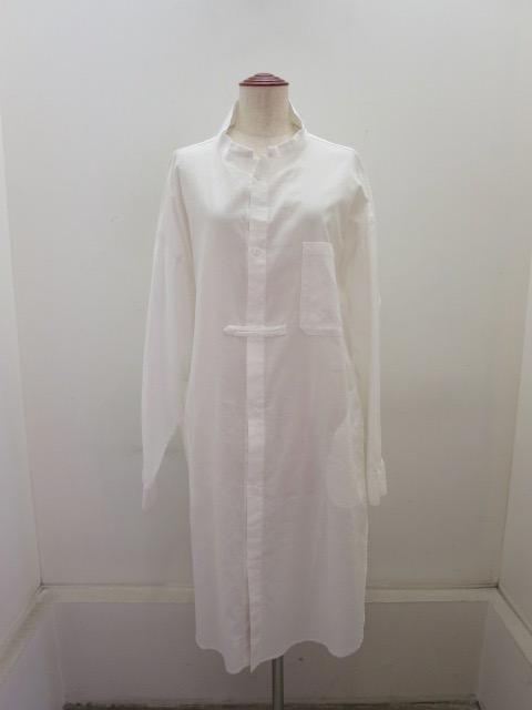 Y's YOHJI YAMAMOTO (ワイズ ヨウジヤマモト) コットン薄ツイル羽織シャツドレス:ホワイト