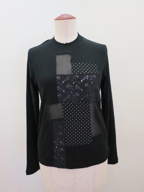 Y's YOHJI YAMAMOTO (ワイズ ヨウジヤマモト) 強撚ミラノリブパッチワーク丸首Tシャツ:ブラック