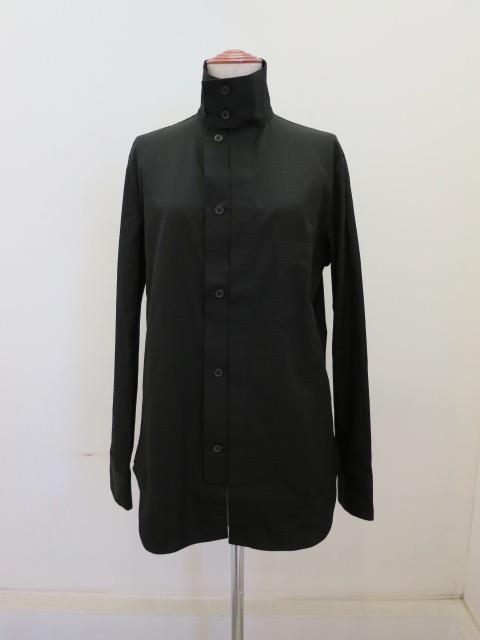 Y's YOHJI YAMAMOTO (ワイズ ヨウジヤマモト),100/2ブロードF開きスクエアブラウス:ブラック