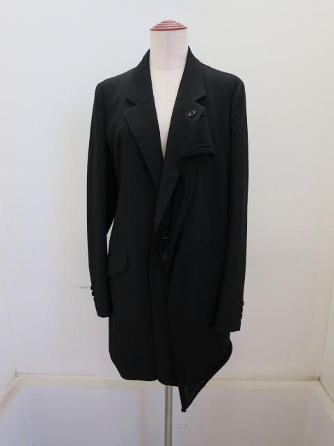 Y's YOHJI YAMAMOTO (ワイズ ヨウジヤマモト) シワギャバ左二重テーラードジャケット:ブラック
