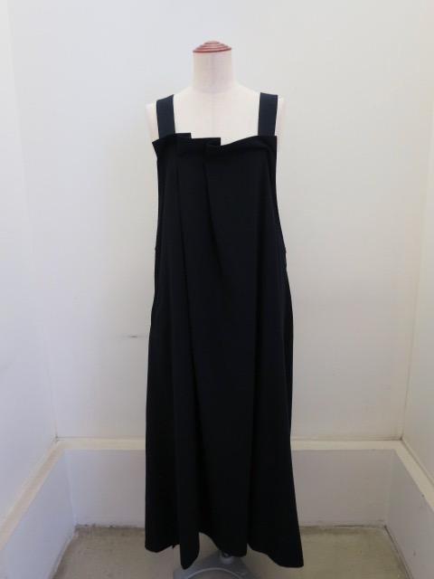 Y's YOHJI YAMAMOTO (ワイズ ヨウジヤマモト)  交織ツイルランダムタックドレス:ネイビー