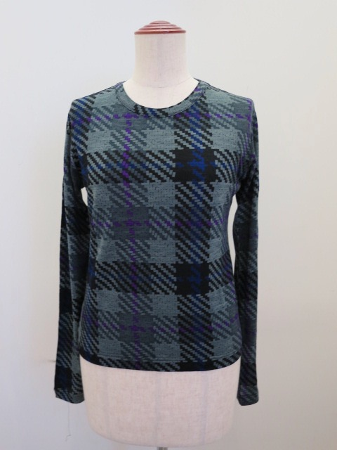 Y's YOHJI YAMAMOTO (ワイズ ヨウジヤマモト) チェックプリント丸首長袖Tシャツ:グレー