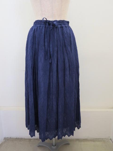 KEI Hayama PLUS(ケイハヤマプリュス) オーバーレース刺繍綿シルクローンウエストゴム ギャザースカート:ブルー