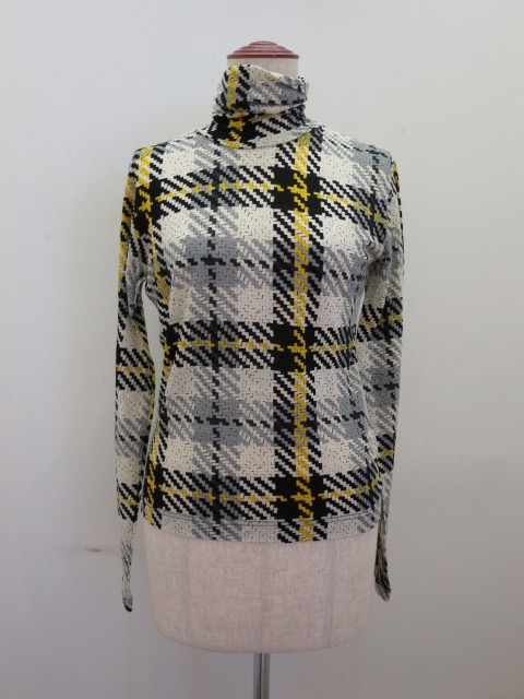 Y's YOHJI YAMAMOTO (ワイズ ヨウジヤマモト)  チェックプリント天竺ハイネック長袖Tシャツ:ホワイト