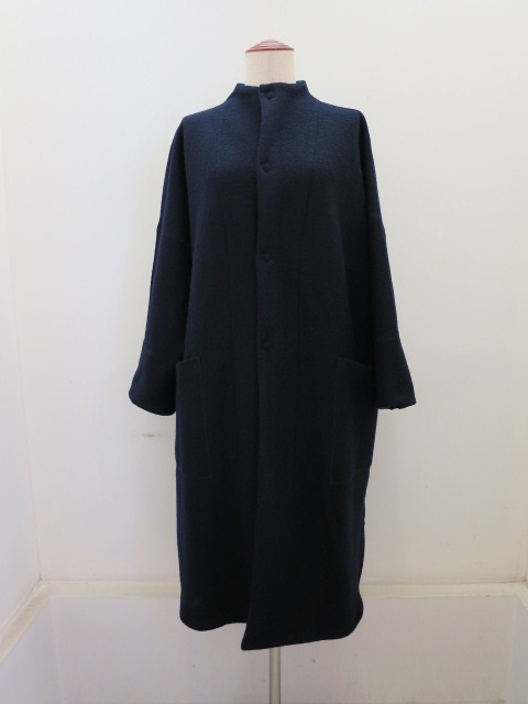 KEI Hayama PLUS(ケイハヤマプリュス)  ブークレーアウトポケットコート:ネイビー