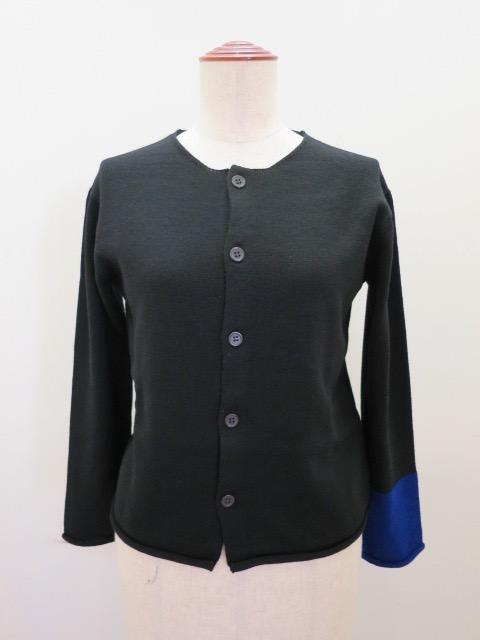 Y's YOHJI YAMAMOTO (ワイズ ヨウジヤマモト) 10G配色袖口カーディガン:ブラック