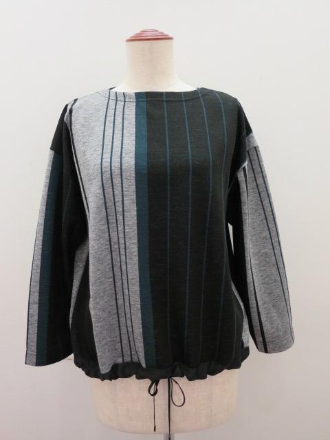 KEI Hayama PLUS(ケイハヤマプリュス) 巾なり3色ストライプ長袖プルオーバー:ブラック