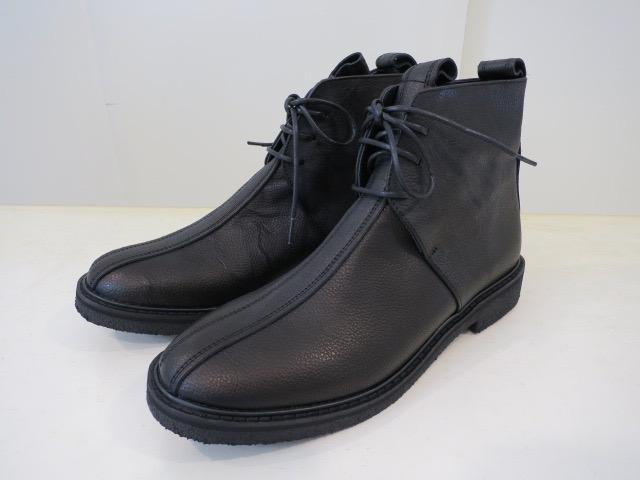 Y's YOHJI YAMAMOTO (ワイズ ヨウジヤマモト) ウオッシュドレザーチャッカーブーツ:ブラック