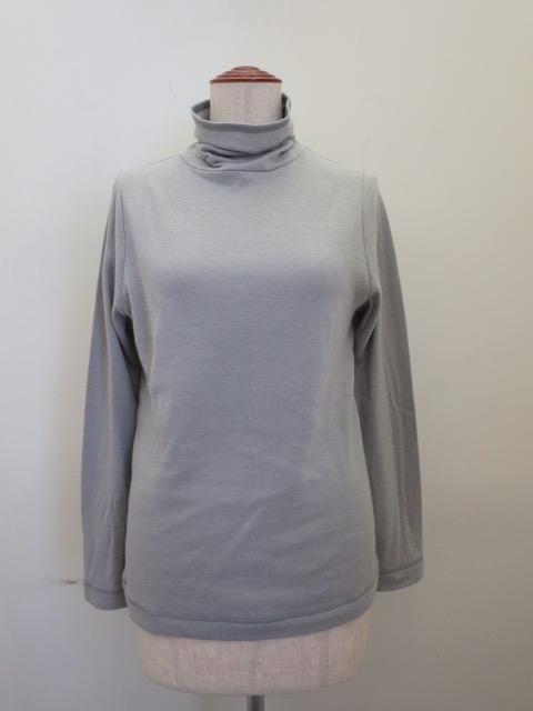 KEI Hayama PLUS(ケイハヤマプリュス) コットンウール接結天竺長袖ハイネックTシャツ:ライトグレー