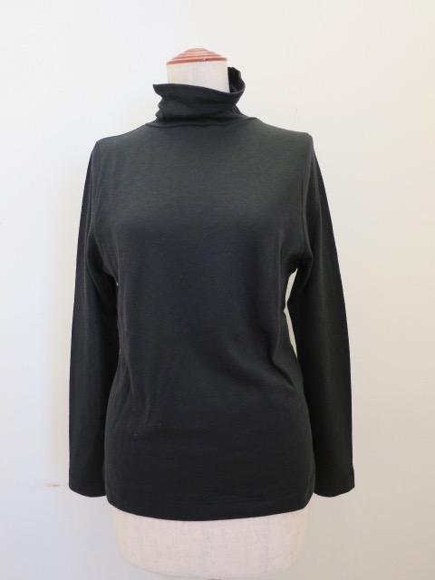 KEI Hayama PLUS(ケイハヤマプリュス) コットンウール接結天竺長袖ハイネックTシャツ:ブラック