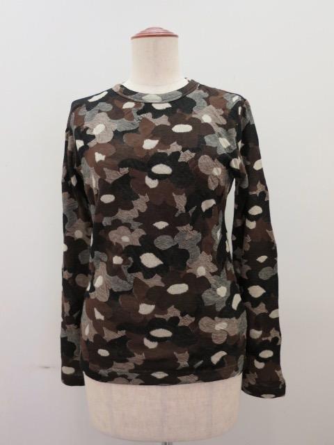Y's YOHJI YAMAMOTO (ワイズ ヨウジヤマモト) 強撚花柄ジャガード長袖丸首Tシャツ:ブラウン