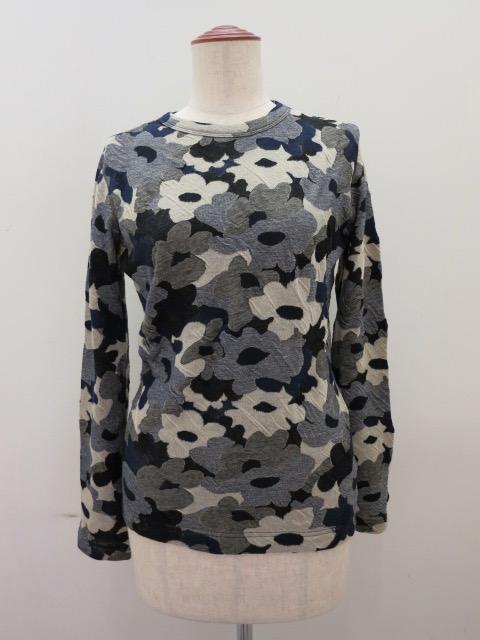 Y's YOHJI YAMAMOTO (ワイズ ヨウジヤマモト) 強撚花柄ジャガード長袖丸首Tシャツ:ブルー