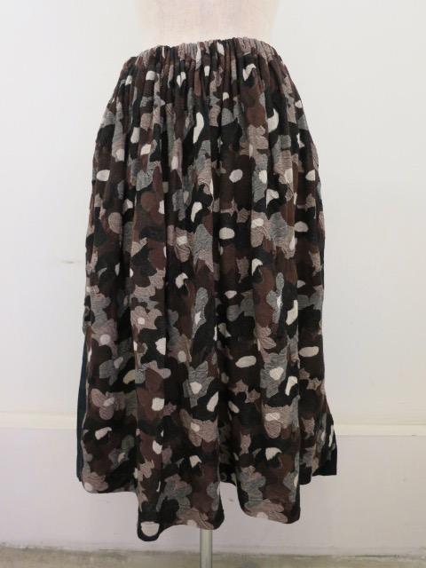 Y's YOHJI YAMAMOTO (ワイズ ヨウジヤマモト)強撚花柄ジャガードウエストゴムギャザースカート:ブラウン
