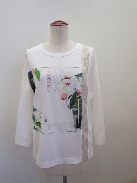 KEI Hayama PLUS(ケイハヤマプリュス) JUN IIDAイラストプリント長袖Tシャツ:ホワイト