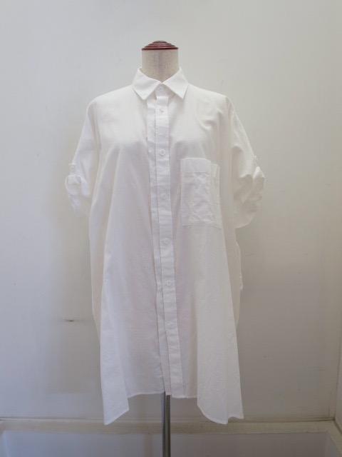 Y's YOHJI YAMAMOTO (ワイズ ヨウジヤマモト) コットン薄ツイル袖まくりビッグブラウス:ホワイト