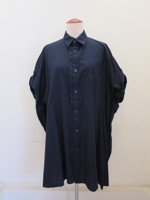Y's YOHJI YAMAMOTO (ワイズ ヨウジヤマモト) コットン薄ツイル袖まくりビッグブラウス:ブラック