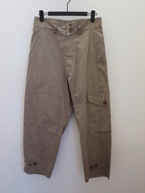 Y's YOHJI YAMAMOTO (ワイズ ヨウジヤマモト) 高密度オックス片ポケットミリタリーパンツ:ベージュ