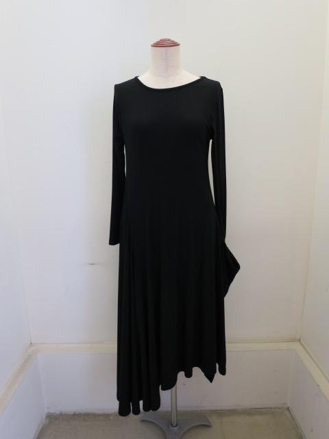 Y's YOHJI YAMAMOTO (ワイズ ヨウジヤマモト) オリビアスムースフレアミニドレス:ブラック