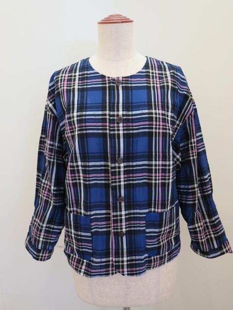 KEI Hayama PLUS(ケイハヤマプリュス) キュプラコットンチェック七分袖ジャケット:ネイビー