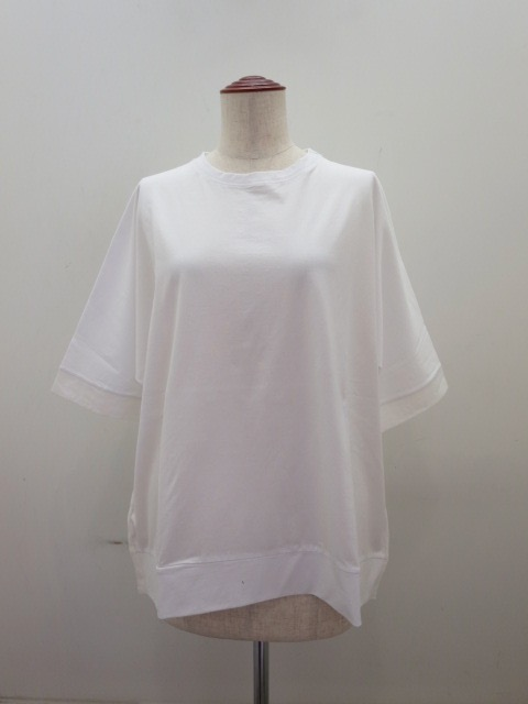KEI Hayama PLUS(ケイハヤマプリュス) スーピマ天竺バイオ×リネンローン半袖ビッグTシャツ:ホワイト:ネイビー