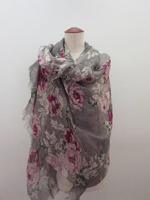 KEI Hayama PLUS(ケイハヤマプリュス) ツリーピオニープリント大判ストール:ピンク