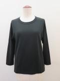 KEI Hayama PLUS(ケイハヤマプリュス),スーピマ天竺七分袖Tシャツ:ブラック
