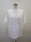 KEI Hayama PLUS(ケイハヤマプリュス) 製品洗いシャーリングジャガードボートネック半袖Tシャツ :ホワイト